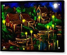 Moonshine Lake - Scratch Art Series - # 26 Acrylic Print by Steven Lebron Langston