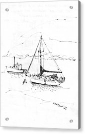 Moored Boats Monhegan Island Acrylic Print by Richard Wambach