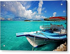 Moored Dhoni At Sun Island. Maldives Acrylic Print by Jenny Rainbow