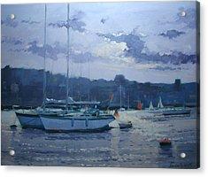 Moored Yachts Acrylic Print by Jennifer Wright