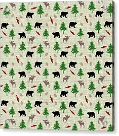 Moose And Bear Pattern Acrylic Print