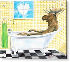 Acrylic Print featuring the painting Moose Bath by LeAnne Sowa