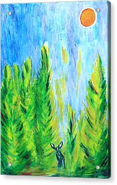 Acrylic Print featuring the painting Moose In Moonlight by Zeke Nord