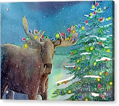Acrylic Print featuring the painting Moosey Christmas by LeAnne Sowa
