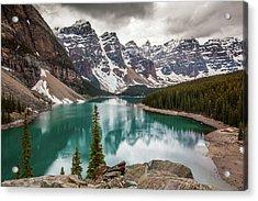 Moraine Lake On Cloudy Day Acrylic Print by Putt Sakdhnagool