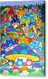 More Frogs Toads And Magic Mushrooms Acrylic Print