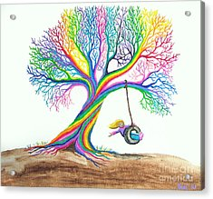 More Rainbow Tree Dreams Acrylic Print by Nick Gustafson