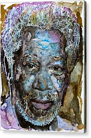 Acrylic Print featuring the painting Morgan In Blue by Laur Iduc