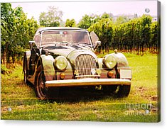 Morgan Plus 4 In Front Of Vineyard Acrylic Print