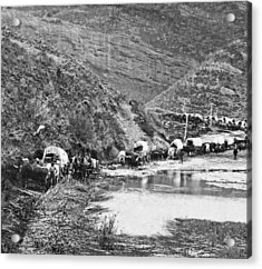 Mormon Emigrant Conestoga Caravan 1879 - To Utah Acrylic Print by Daniel Hagerman
