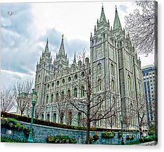 Mormon Temple In Early Spring Acrylic Print