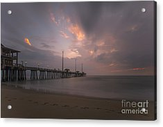 Acrylic Print featuring the photograph Morning At Jennette Pier by Dan Friend