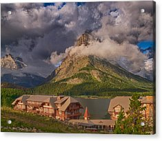 Morning At Many Glacier Hotel Acrylic Print by Rob Wilson