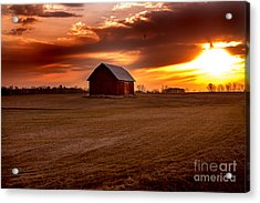 Morning Barn Acrylic Print by Randall  Cogle