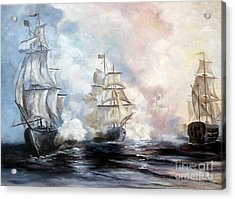 Acrylic Print featuring the painting Morning Battle by Lee Piper