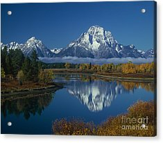 Morning Cloud Layer Oxbow Bend In Fall Grand Tetons National Park Wyoming Acrylic Print by Dave Welling