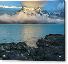 Morning Clouds Over Paine Grande Acrylic Print