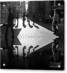 Acrylic Print featuring the photograph Morning Coffee Line On The Streets Of New York City by Lilliana Mendez