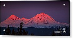 Morning Dawn On Two Of Three Sisters Mountain Tops In Oregon Acrylic Print by Jerry Cowart