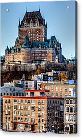 Morning Dawns Over The Chateau Frontenac Acrylic Print by Bill Lindsay