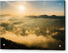 Morning Fog In The Saxon Switzerland Acrylic Print