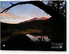 Morning Glow On Mountain Peaks Acrylic Print by Karen Lee Ensley