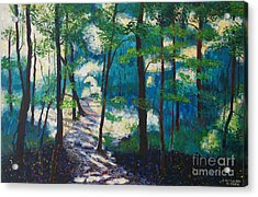 Morning Sunshine In Park Forest Acrylic Print