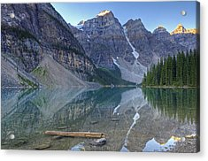 Morning Light On Moraine Lake Acrylic Print by Darlene Bushue