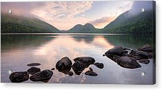 Morning Mist On Jordan Pond, Acadia Acrylic Print by Panoramic Images