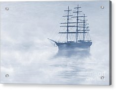 Morning Mists Cyanotype Acrylic Print by John Edwards