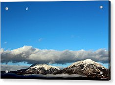 Acrylic Print featuring the photograph Morning Moon Over Spanish Peaks by Barbara Chichester