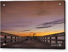 Morning Pier Deck Acrylic Print by Marvin Spates