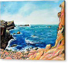 Acrylic Print featuring the painting Morning Sea With Birds On Rocks by Asha Carolyn Young
