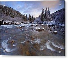 Morning Snowlight Acrylic Print by Darren  White