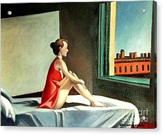 Morning Sun After E.hopper Acrylic Print by Kostas Koutsoukanidis