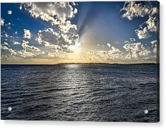 Morning Sun Punching Through The Clouds In St. Croix Acrylic Print