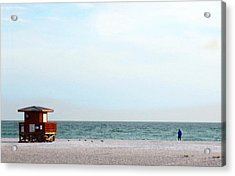 Morning Walk Beach Art By Sharon Cummings Acrylic Print by William Patrick