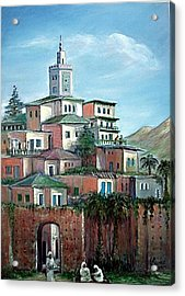 Acrylic Print featuring the painting Moroccan Village - Alkasaba by Laila Awad Jamaleldin