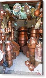 Morocco, Fez, Medina Store Of Copper Acrylic Print