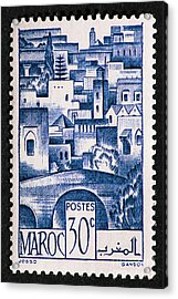 Morocco Vintage Postage Stamp Acrylic Print by Andy Prendy