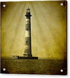 Morris Island Light Bw Vintage Acrylic Print