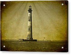 Morris Island Light Vintage Bw Uncropped Acrylic Print