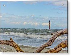 Morris Island Light With Driftwood Acrylic Print