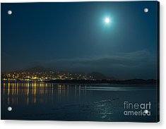 Morro Bay At Night Acrylic Print by Terry Garvin