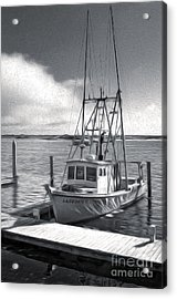 Morro Bay Fishing Boat In Duo-tone Acrylic Print by Gregory Dyer
