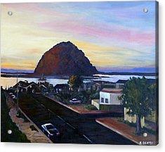 Morro Rock At Night Acrylic Print
