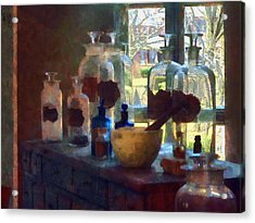 Mortar And Pestle And Bottles By Window Acrylic Print