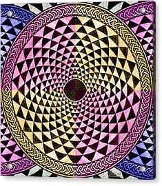 Mosaic Circle Symmetric  Acrylic Print by Tony Rubino