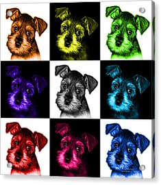 Mosaic Salt And Pepper Schnauzer Puppy 7206 F - V2 Acrylic Print by James Ahn