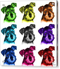 Mosaic Salt And Pepper Schnauzer Puppy 7206 F - Wb Acrylic Print